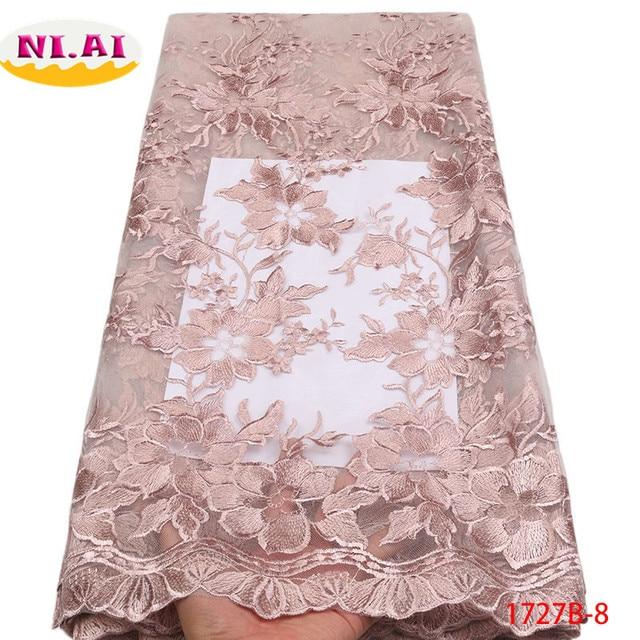 Nigerian Lace Fabric 2018 High Quality Lace Material White Pink Tulle Lace  Nigerian Lace Fabrics For Wedding 2018 NA1727B-2 86cd341ea6b8