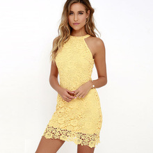 DeRuiLaDy Women Mini Bodycon Dress Elegant Wedding Party Sexy Night Club Casual Dresses Halter Neck Sleeveless Lace Summer Dress