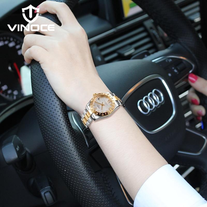 VINOCE Vrouwen Roestvrij Staal Horloges Luxe Crystal Diamond Dames Armband reloj mujer Waterdicht Relogio Feminino 2019 #633278-in Dameshorloges van Horloges op  Groep 3