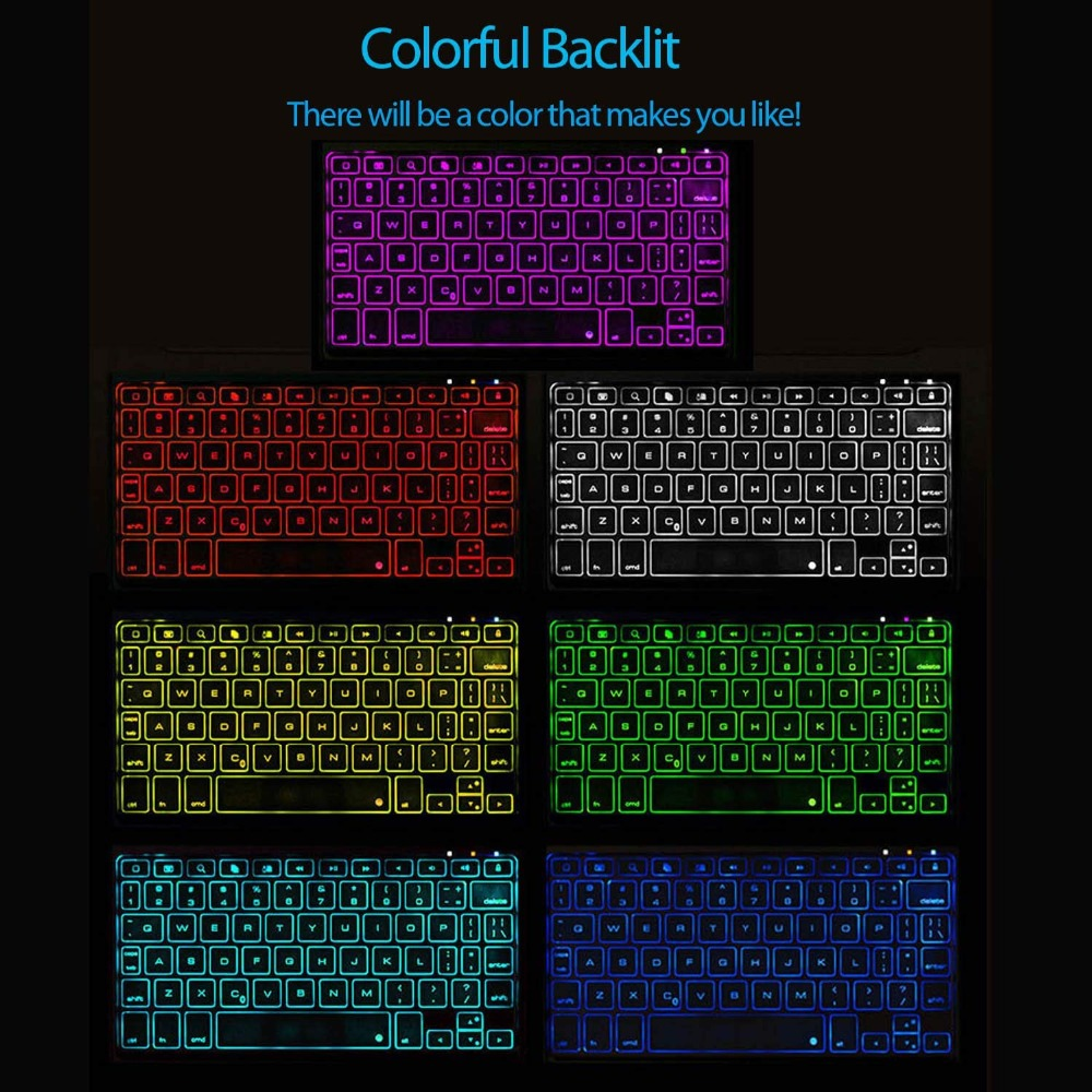 Funda para iPad Pro 11 10,5 9,7 7 Color retroiluminada 360 rotacio teclado inalámbrico Bluetooth para iPad 2018 2017 6th 5th Air 1 2 3 - 3