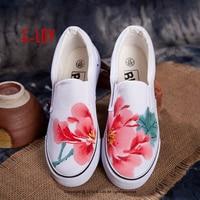 E-LOV Ink Wash Malarstwo Kobiet Przypadkowi Buty Chińskie Malowanie Piwonia Projekty Unisex Ręcznie Malowane Brezentowych Buty Platformy Buty Dla Dorosłych