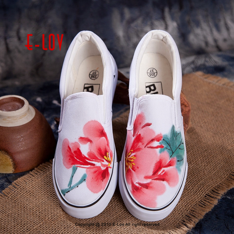 E-LOV Ink Wash Painting Women Casual Shoes Chinese Painting Peony Designs Unisex Hand-Painted Canvas Shoes Adult Platform Shoes e lov design hand painted couples lovers canvas shoes custom women flats casual shoe espadrilles graffiti leo horoscope