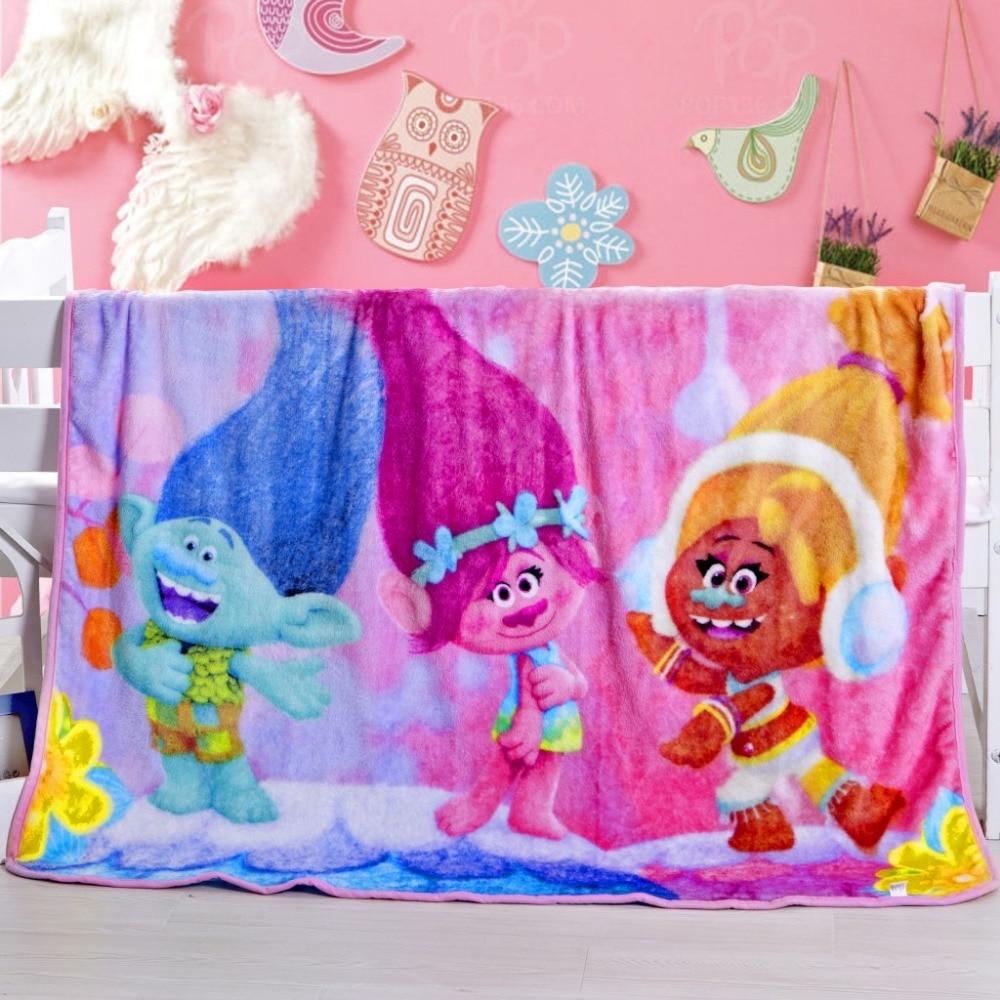 2018 New Spring Autumn Trolls 1.0*1.4m Children Cartoon Blanket On Bed Cartoon Coral Fleece Blankets Air Conditionin E-233