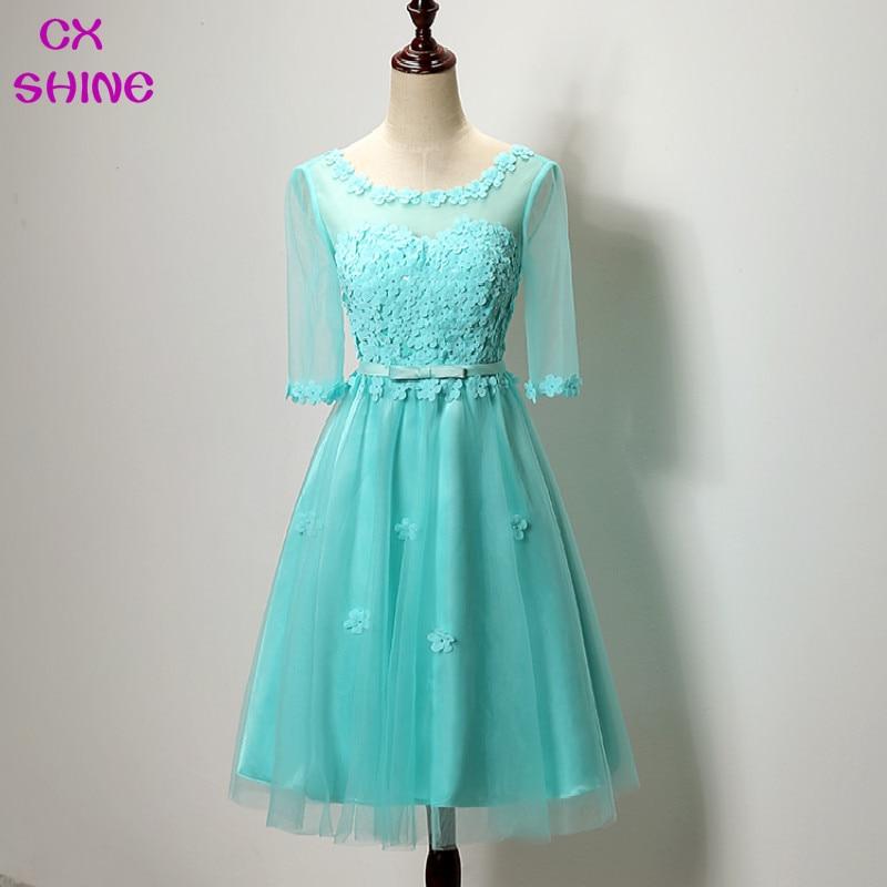 CX SHINE Розово сиво вечерни рокли Половина ръкав дантела цвете къса роба де soiree пром парти писта рокли Vestidos