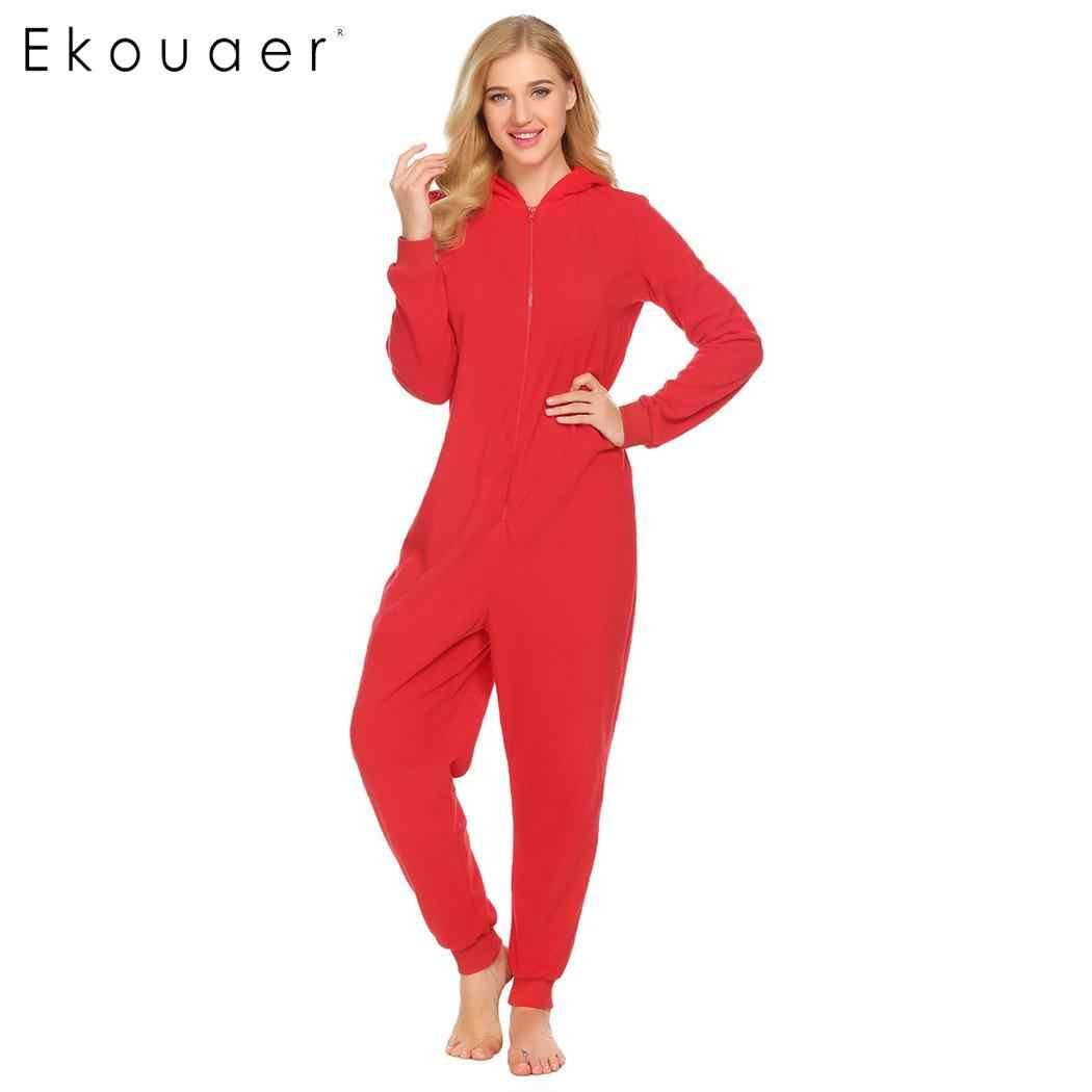 640d99cda8 ... Ekouaer Adult Onesies Sleepwear Women Pajamas Long Sleeve Hooded Fleece  Playsuit Nightwear Jumpsuit Home Clothes Plus ...