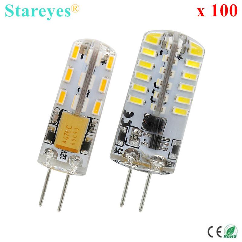 100 <font><b>pcs</b></font> <font><b>G4</b></font> 2W 4W 24 48 LED SMD 3014 Led Bulb Chandelier Crystal light DC12V Non-polar corn bulb led lamp candle light image