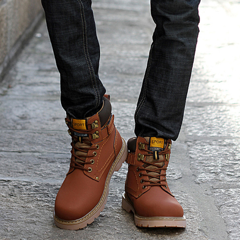 2016 Mens Boots Autumn Winter Boots Brown Military Combat Work ...