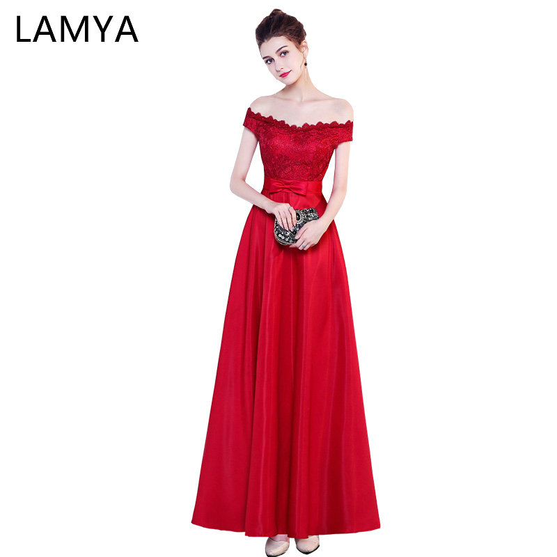 LAMYA 2019 Lace Boat Neck   Evening     Dresses   Long A Line Satin Prom   Dress   Red Elegant Robe De Soiree Cheap Simple Party Gown