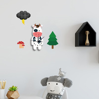 55x50cm Cartoon 3D Cow Patterns Children Clock Walls Wall Stickers Kids Room Bedroom Living Room Study room Decoration Clocks