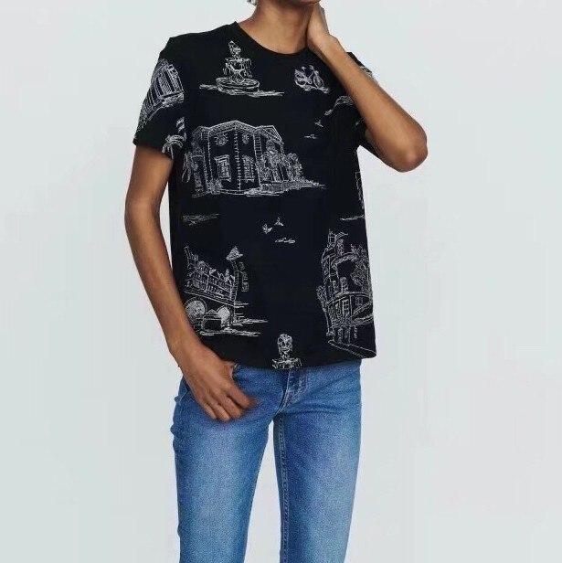 2019 printemps et été nouveau col rond à manches courtes peinture motif broderie femmes 100% coton T-shirts