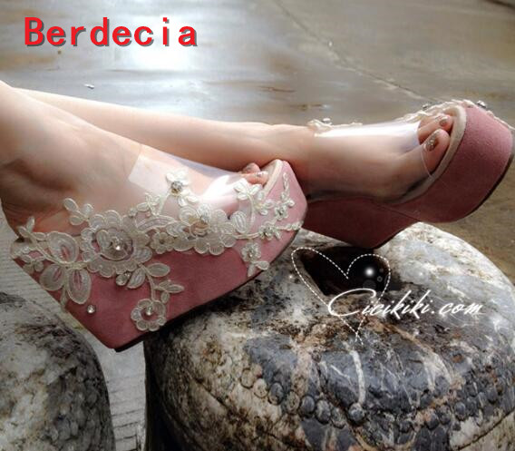 ФОТО hot selling platform wedge sandal for woman 2017 summer open toe lace flower wedge slipper crystal embellished shoes