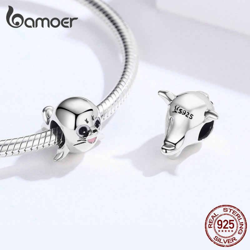 Bamoer 3D สัตว์สิงโตทะเลลูกปัดโลหะสำหรับผู้หญิง 925 เงินสเตอร์ลิง Charm Fit สร้อยข้อมือเดิมกำไลข้อมืออุปกรณ์เสริม SCC1253