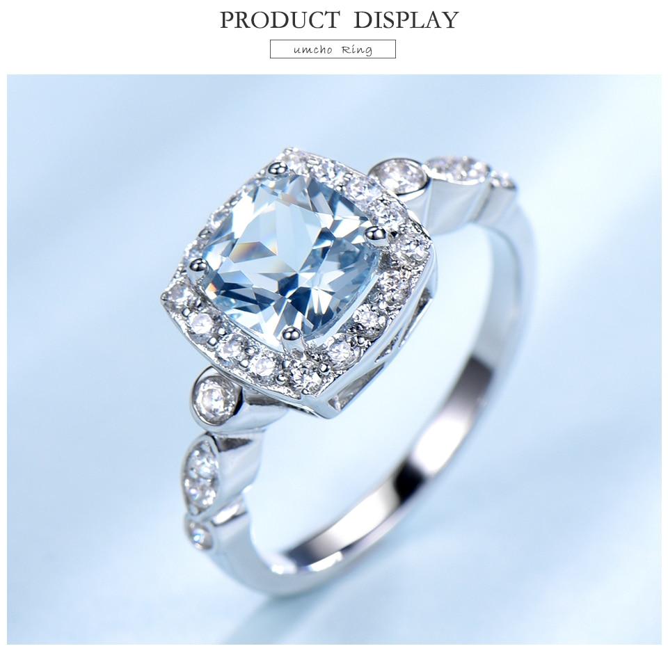 HTB124YtbgFY.1VjSZFqq6ydbXXaq UMCHO Real S925 Sterling Silver Rings for Women Blue Topaz Ring Gemstone Aquamarine Cushion Romantic Gift Engagement Jewelry