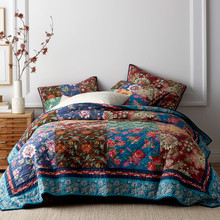 CHAUSUB Patchwork Bedspread Quilt Set 3PCS Handmade Quilted Quilts Cotton American Vintage Comforter King Size Coverlet Sets