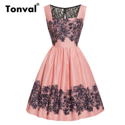 Tonval Glamorous Floral Print Square Neck Pleated Pink Dress Women Lace Cutout Back Rockabilly Party Vintage Retro Dresses