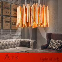 Ковчег свет творческий, современный дизайн метеорный поток деревянный подвесной светильник led столовая деревенский светильник lampes suspendues