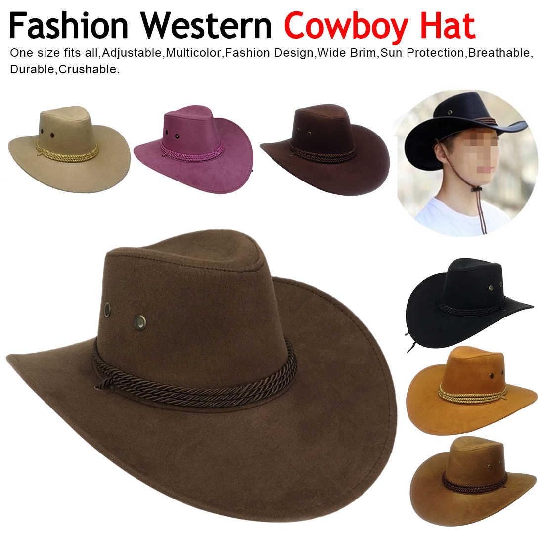 fae803bb1 Fashion Western Cowboy Hat Tourist Cap Outdoor Wide Brim Jazz hat Suede  outdoor sun hat 2019 new Unisex