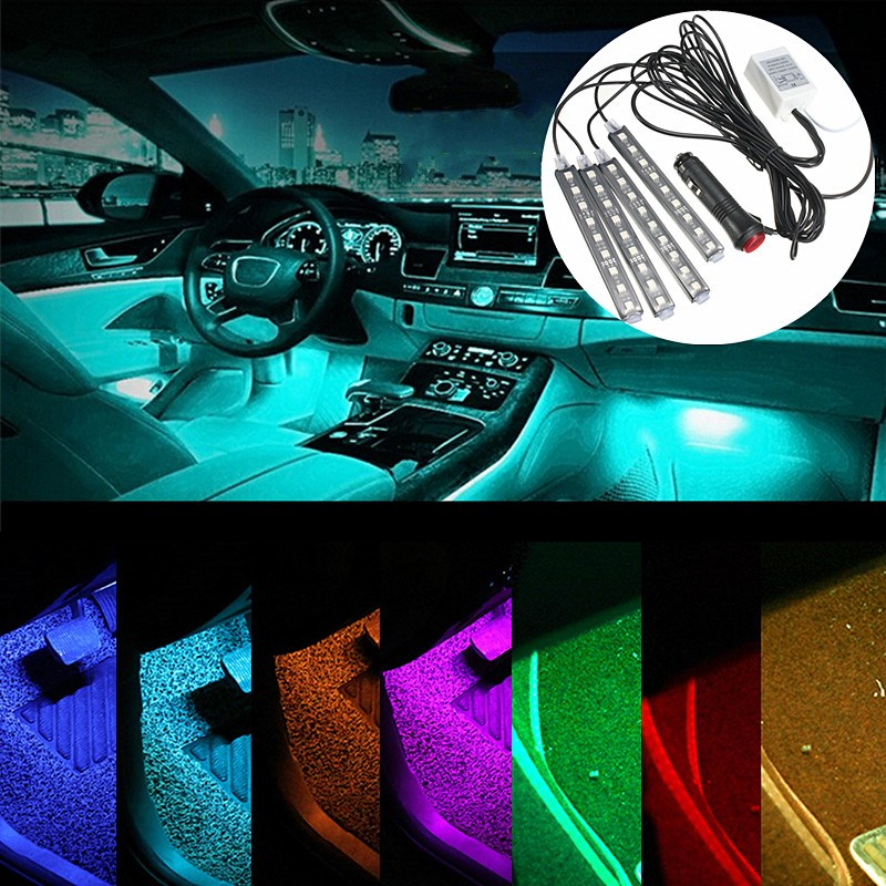 4pcs remote control rc 36 led car interior floor decor atmosphere mood strip light changeable colors cheap mood lighting