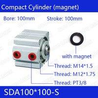 SDA100 * 100 S Бесплатная доставка 100 мм диаметр 100 мм Ход Компактный Воздушные цилиндры SDA100X100 S двойного действия пневматический цилиндр