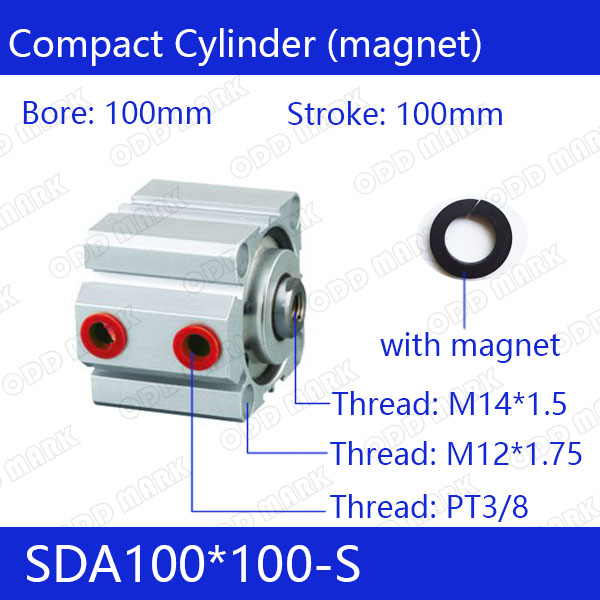 SDA100*100-S Free shipping 100mm Bore 100mm Stroke Compact Air Cylinders SDA100X100-S Dual Action Air Pneumatic CylinderSDA100*100-S Free shipping 100mm Bore 100mm Stroke Compact Air Cylinders SDA100X100-S Dual Action Air Pneumatic Cylinder