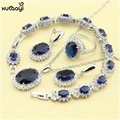 XUTAAYI Fashion Blue Synthetic Sapphire Sterling Silver Overlay Jewelry Sets For women Super Necklace Rings Earrings Bracelet