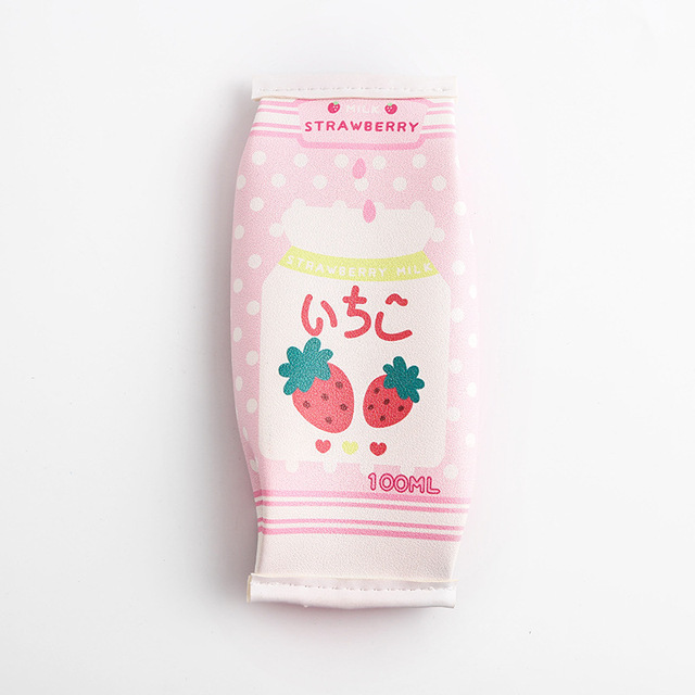 DuoYo Girls Red Strawberry Milk Box Pencil Case High Capacity Storage Student Stationery