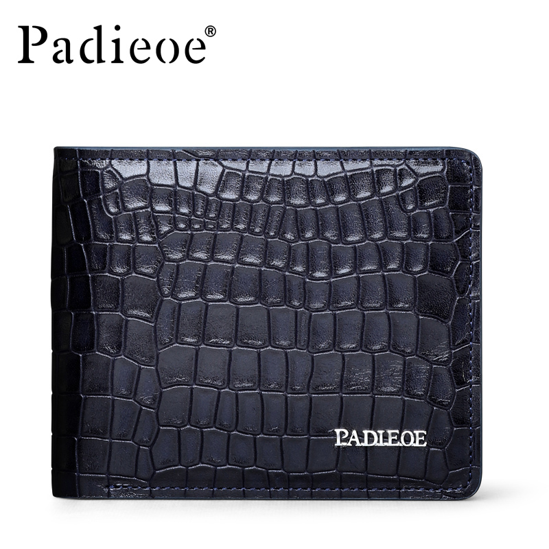 Padieoe Brand Crocodile Pattern 100% Genuine Cow Leather Wallet Business Leisure Men Purse Fashion Luxury Leather men Wallets
