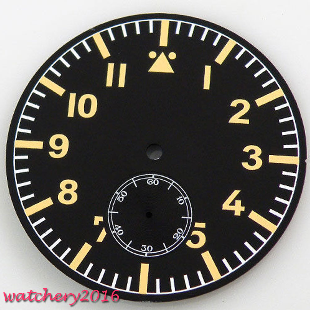 47.5mm Parnis black sterile dial orange markers fit 6498 Movement Mens New Watch dial
