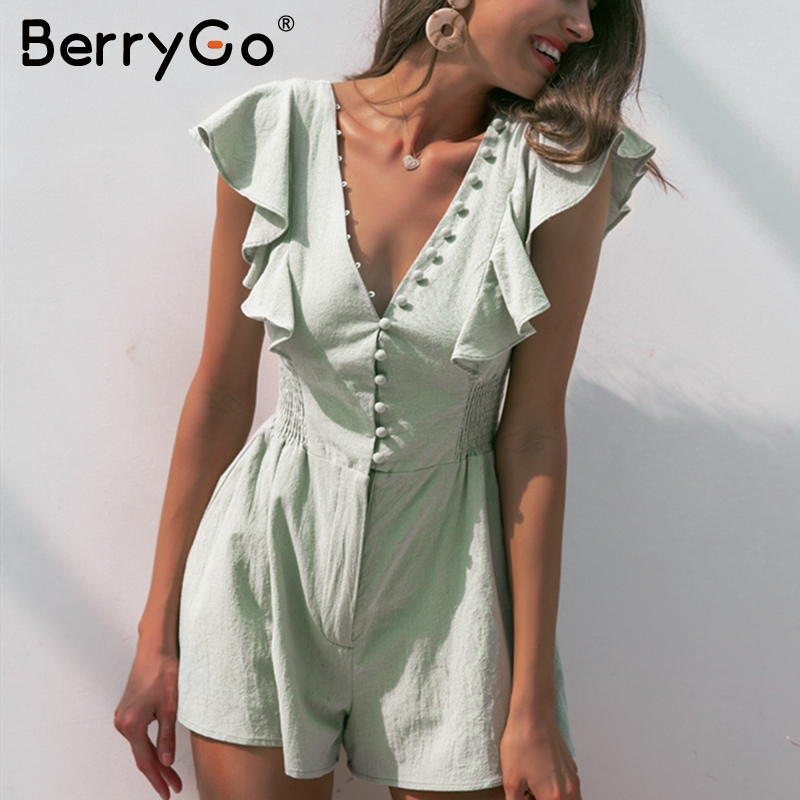 BerryGo ruched linen   jumpsuit   women rompers Summer buttons ruffle short   jumpsuit   Elegant v neck Casual sexy   jumpsuit   overall