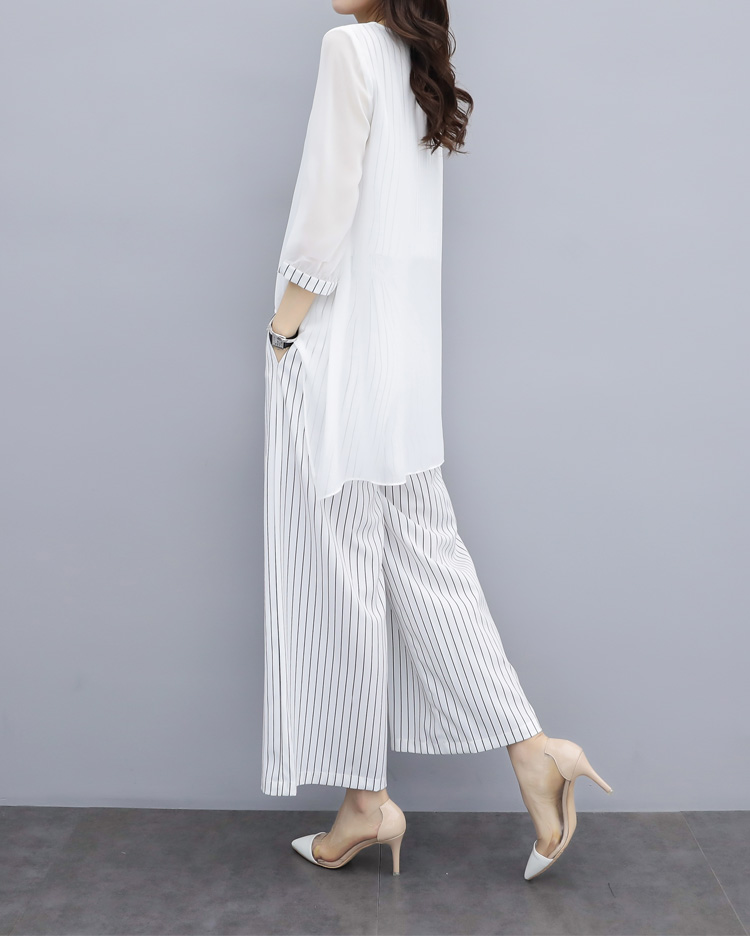 HTB124ZYa.CF3KVjSZJnq6znHFXa1 - S-3xl Summer Chiffon 2 Two Piece Sets Outfits Women Plus Size Asymmetrical Blouses And Wide Leg Pants Suits Elegant Korean Sets