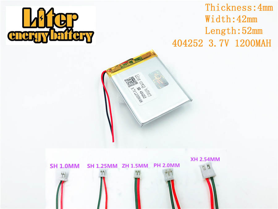 404252,3.7V 1200mAh Rechargeable Polymer Battery For 3.7V 404252 PLUG MP3 MP4 MP5 Lampe speaker toys Mobile polymer battery