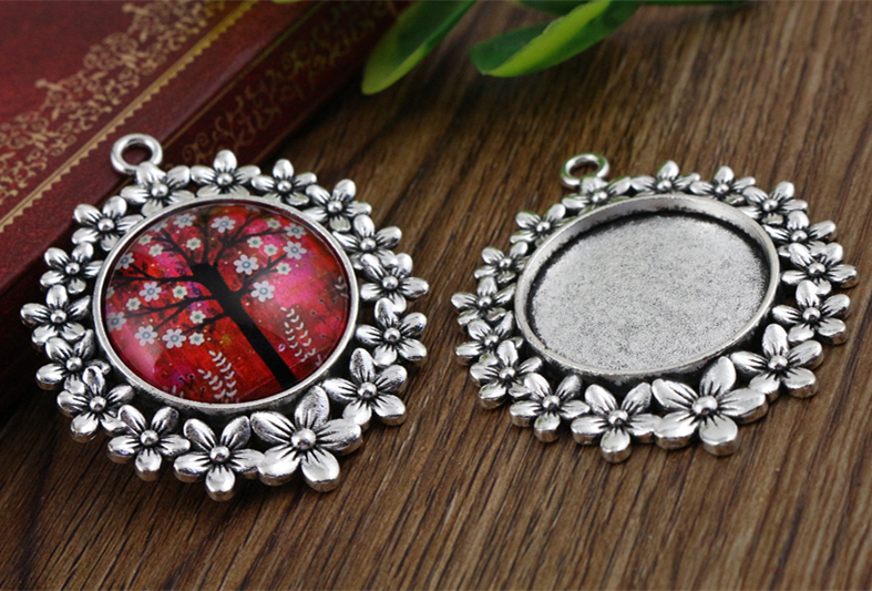Charms-Pendant Base-Setting Cabochon Antique Silver 25mm 5pcs Flowers-Style A5-03 Inner-Size