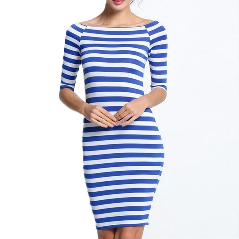 2018 Women Summer Sheath Dresses Black And White Striped