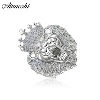 AINOUSHI Exaggrate 925 Sterling Silver Wedding Engagement Lion King Rings Male Silver Anniversary Party Rings pero llama Jewelry
