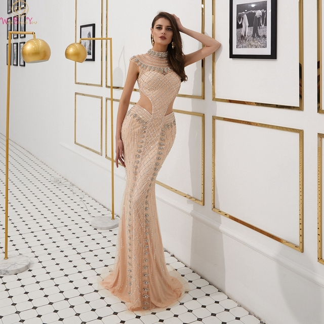 Collar Dresses Prom Birthday Party One Piece Host Dress Evening Outfit Champagne Beading Crystal Cut Out Long Mermaid Cap Sleeve