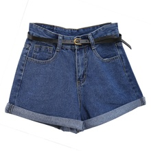 Vintage High Waist Crimping Denim Shorts Women 2018 Europe Style New Fashion Brand Slim Casual Femme Short Jeans Plus Size 2XL