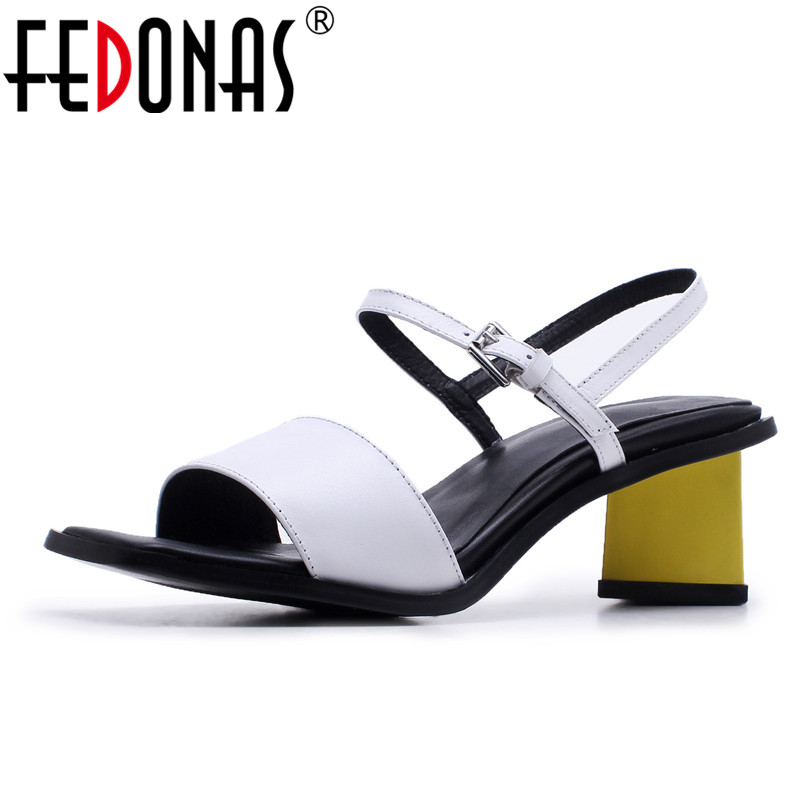 FEDONAS 2018 Women Sandals Fashion High Heel Summer Genuine Leather Women Sandals Shoes Woman Office Shoes Elegant Sandals xiuningyan horsehair sandals women flat heel sandals fashion summer low heel shoes woman sandals summer plus size free shipping