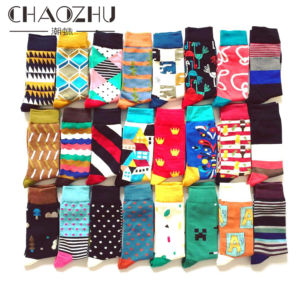 CHAOZHU Men's Cotton Happy Socks Gather Weeding Business Daily Gift Socks Crew Fancies Autumn Winter Long Male Socks Happy
