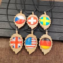2019 Fashion Necklace Pendant Rope Cute Wood Wooden National Flag Time Gem USA Germany United Kingdom Czech Republic AB001-006(China)