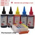 Mg6450 pgi-550 cartucho de tinta recarregáveis para canon ip7250 mg5450 mg5550 ix6850 mx725 mx925 mg6650 mg5650 + tinta dey 5 cor universal