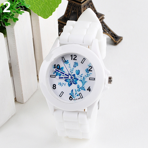 Hot Sales Women's Geneva Flowers Printed White Silicone Band Analog Fashion Dress Quartz Wrist Watch Female Watch 4JUL casio часы casio lq 400d 1a коллекция analog