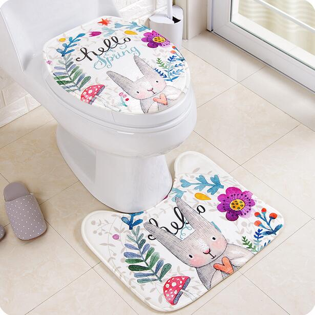 Cartoon Toilet Cover Set Fashion Toilet Seat Cover Thickening