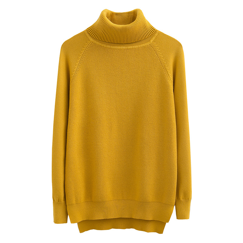 New Solid Irregular Loose Knitted Pullover Sweater Women Autumn Winter Long Sleeve Turtleneck Women Sweaters Pull Femme Jumper