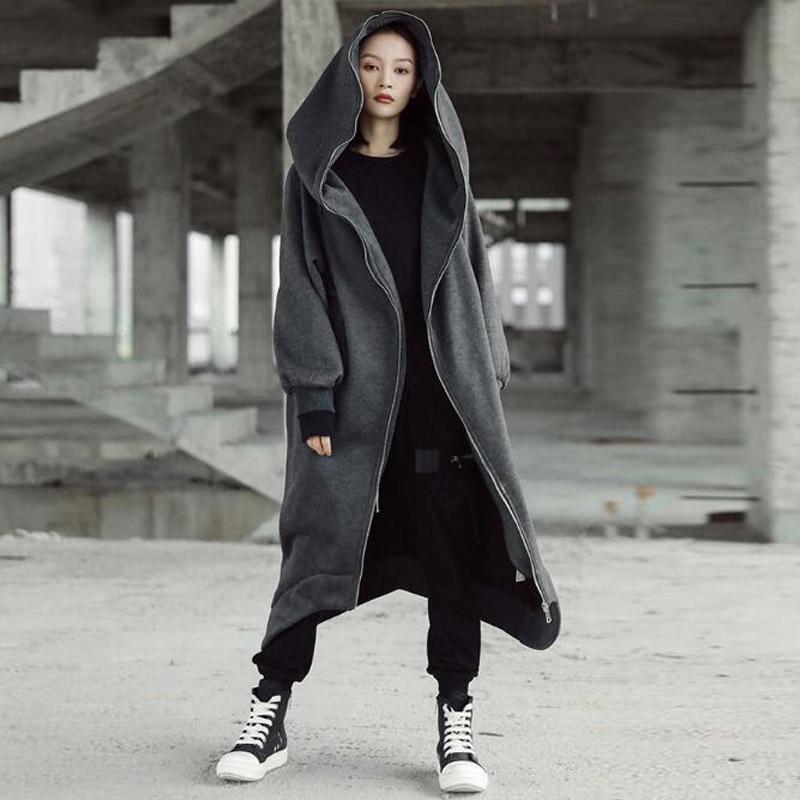 2018 ZANZEA Winter Women Hooded Zip Long Sleeve Fleece Irregular Boyfriend Style Loose Pockets Solid Long Coat Jackets Plus Size