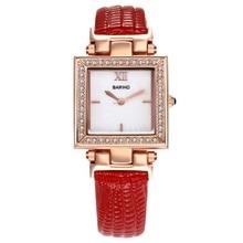 De Las Mujeres elegantes Square Cara Del Dial de Reloj de Cuero de LA PU Relojes de Pulsera de Cristal de Cuarzo de Pulsera Para Chicas Regalos LL @ 17