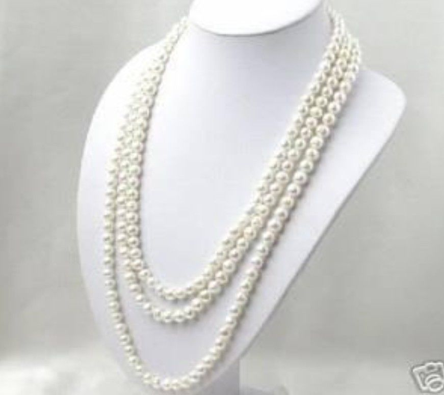FREE SHIPPING>>>@@ > Hot sale new Style >>>>>SUPER LONG 120 INCH 7-8MM WHITE AKOYA CULTURED PEARL NECKLACE цена и фото