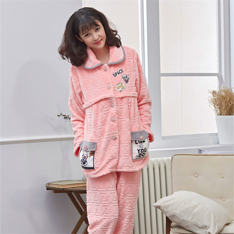 Breastfeeding Maternity Pajamas Nursing Winter Clothes For Pregnant Women Cute Warm Flannel Cardigan Maternity Nightgown Nursing pregnant women long nightdress women sleep nightshirt winter flannel thickening long nightgown maternity