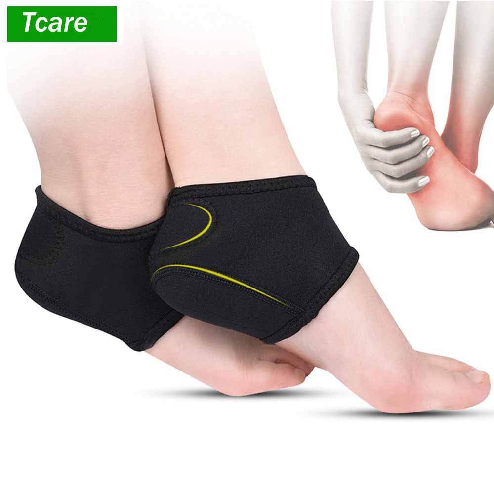 1Pair Nylon Heel Cups Inserts And Compression Heel Sleeves Socks Foot Ankle Pain Relief For Plantar Fasciitis Spurs Pads Cracked