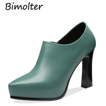 Bimolter Deep Mouth Block Heels Genuine Leather Shoes Women Sheepskin Pumps 2019 Autumn Black High Office  FC008