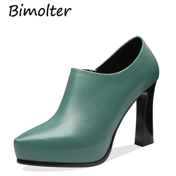 Bimolter Deep Mouth Block Heels Genuine Leather Shoes Women Sheepskin Pumps 2019 Autumn Black High Heels Office Shoes  FC008